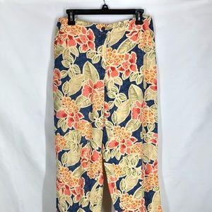 Talbots Linen Blend Floral Hawaiian Pants 8 Petite